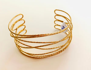 Rock Candy Pebbled Gold Cuff