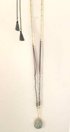 Rock Candy Stone with Bead and Chain Necklace