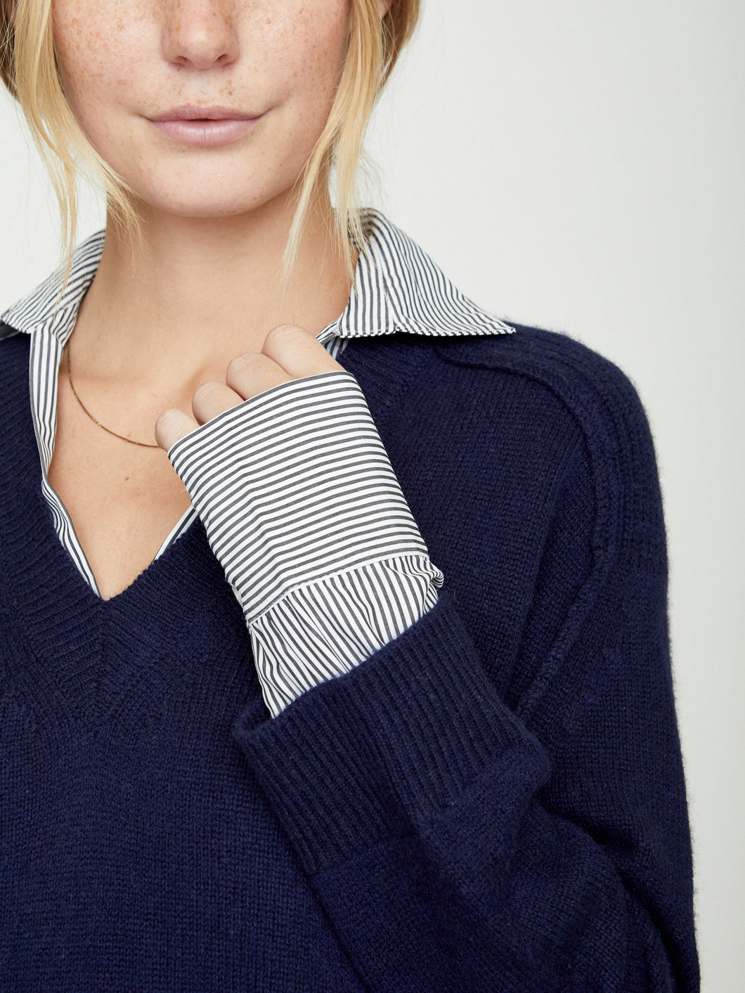 Brochu Walker V-Neck Layered Knit Pullover