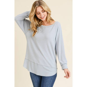 Maple S Long Sleeve hi-low tunic w/ raw edge