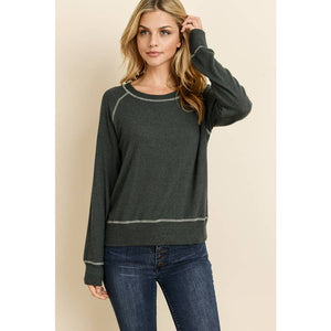 Maple S Long sleeve raglan crew with contrast stitching