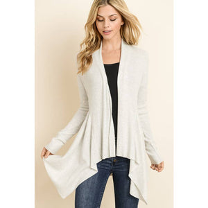 Maple S Ribbed Hi Low Open Cardi
