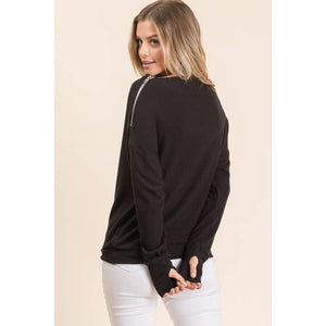 Maple S L/S Cozy Knit with Shoulder Zipper Detail