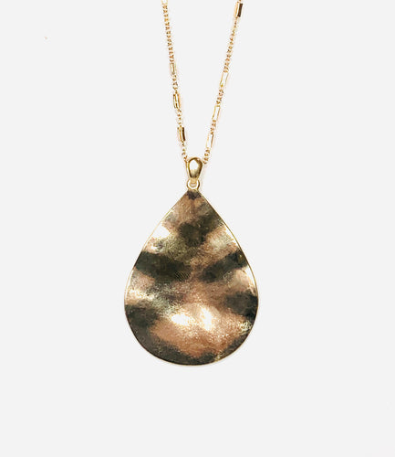 Hammered Tear Drop Pendant Necklace