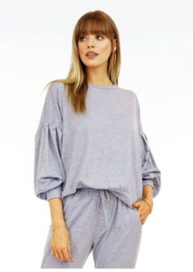 Veronica M. Banded Sweatshirt with pleated sleeve detail