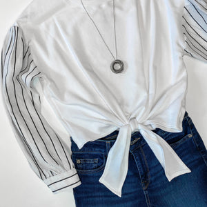 Fifteen Twenty Contrast Sleeve Tie Front Top