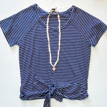 Load image into Gallery viewer, Sanctuary Lou Ruched Navy Striped Tie Tee