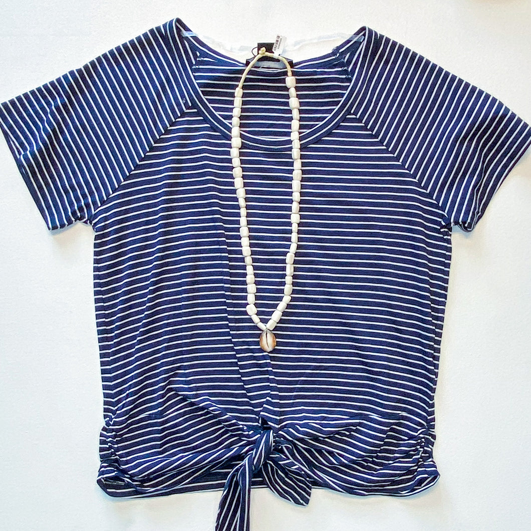 Sanctuary Lou Ruched Navy Striped Tie Tee