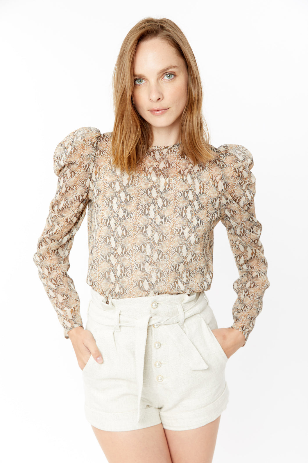 Generation Love Samantha Long Sleeve Snake Blouse