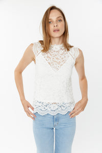 Generation Love White Lace Sleeveless Top