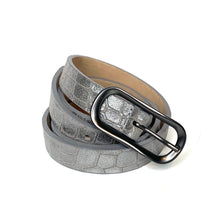 Load image into Gallery viewer, Streets Ahead Shimmer Crocodile skinny belt