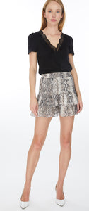 Generation Love Printed Silk Metallic Dot Mini Ruffle Skirt