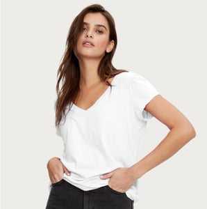 Michael Stars Lillian V-Neck Puff Sleeve Tee