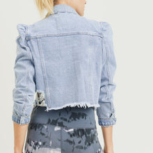 Load image into Gallery viewer, Mono Puff Sleeve Crop Distressed Denim Jacket