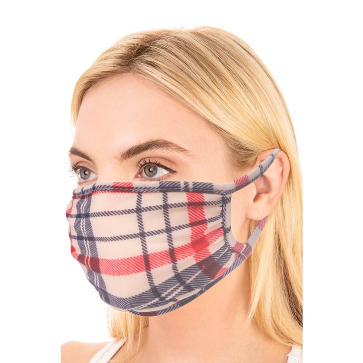 Canvas Red / blue plaid mask