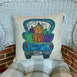 Happy Fall Y'all Truck Pillow Cover Only