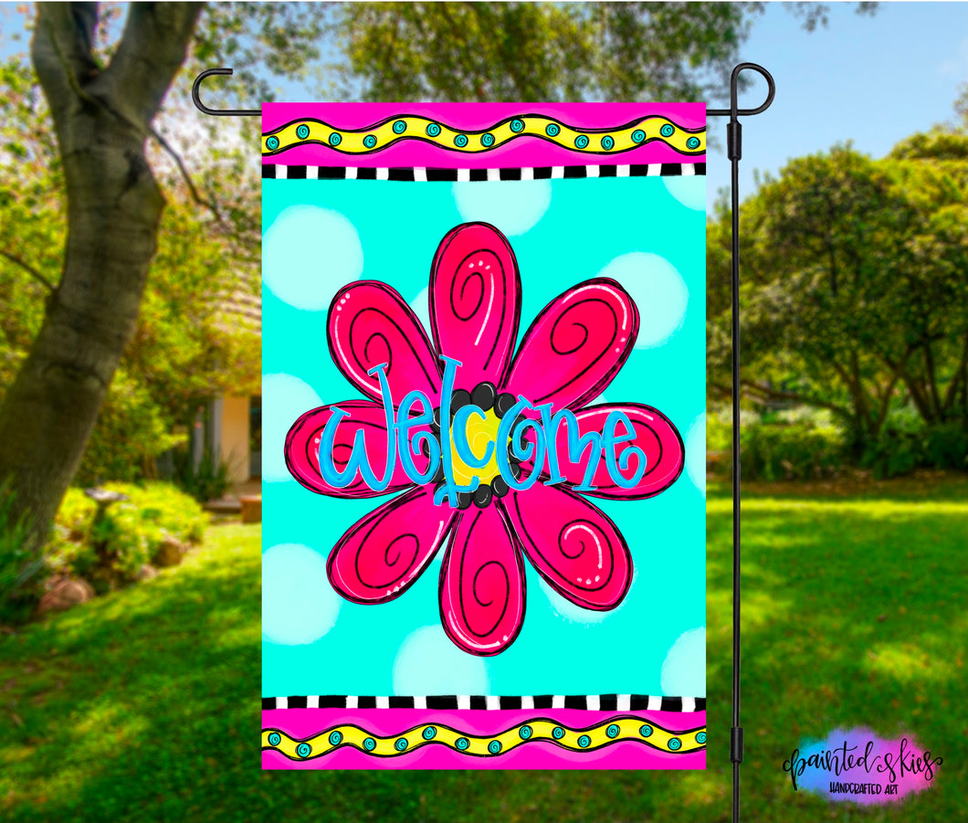 Funky Flower Welcome Garden Flag
