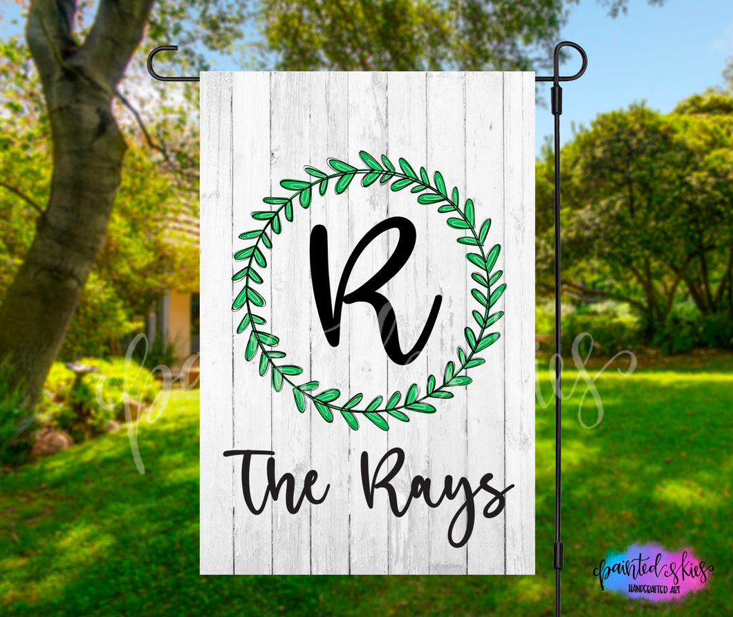Personalized Initial and Last Name Garden Flag
