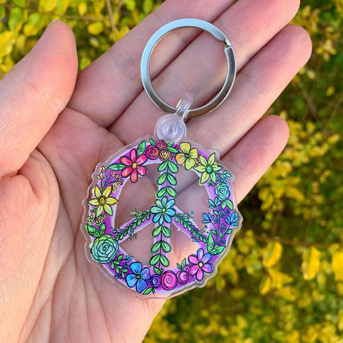Floral Peace Sign Keychain