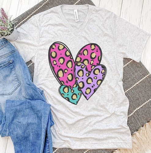 Three Glitter Leopard Hearts Tee