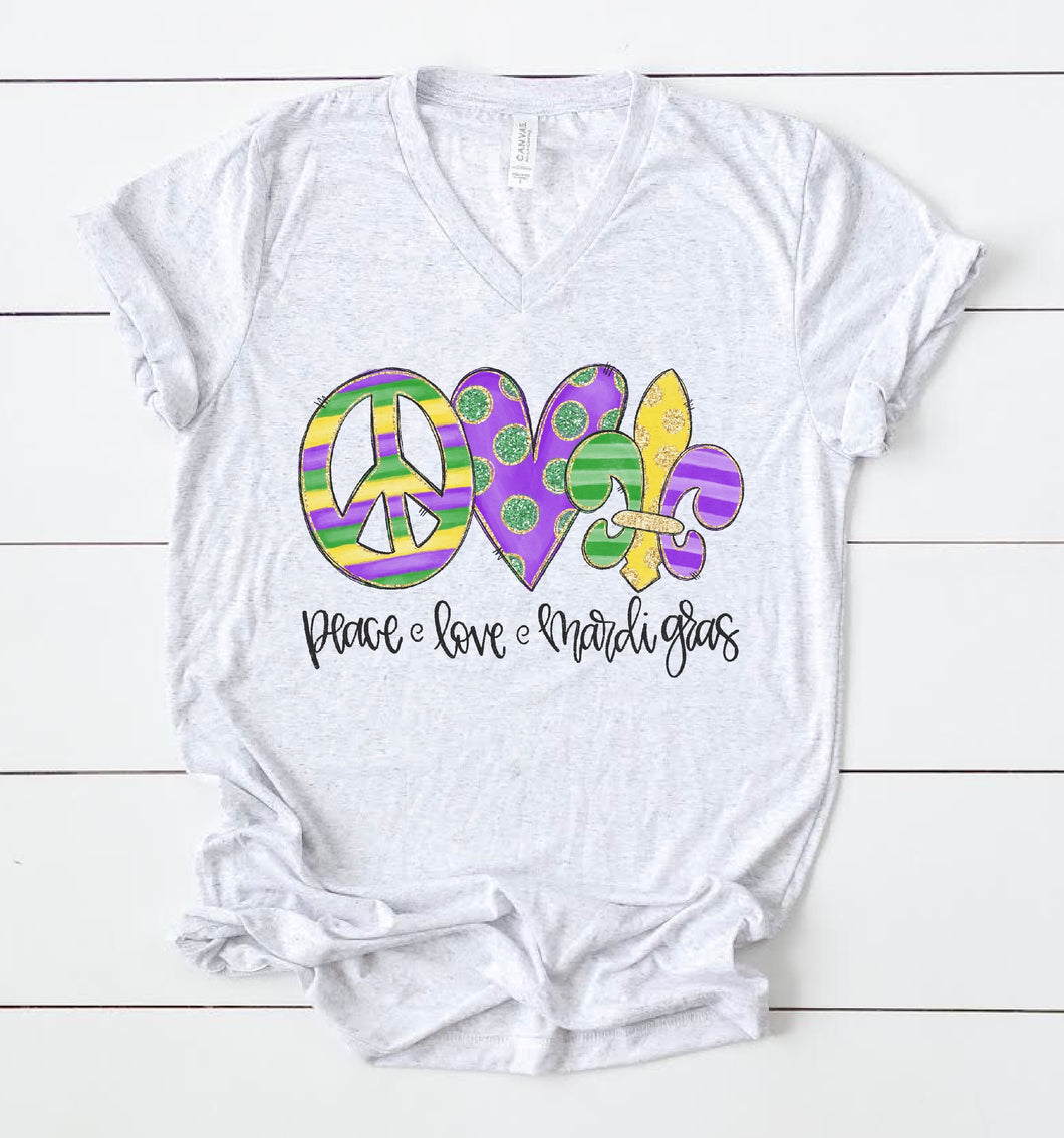 Peace Love Mardi Gras Tee