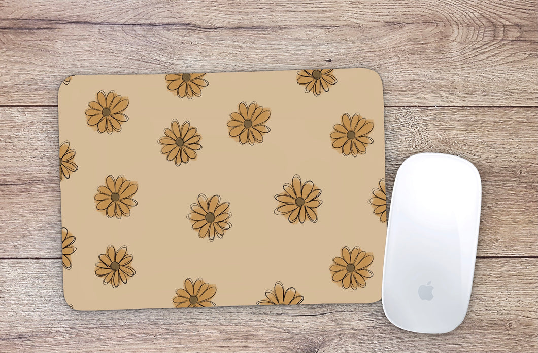 Yellow Boho Daisy Mouse Pad
