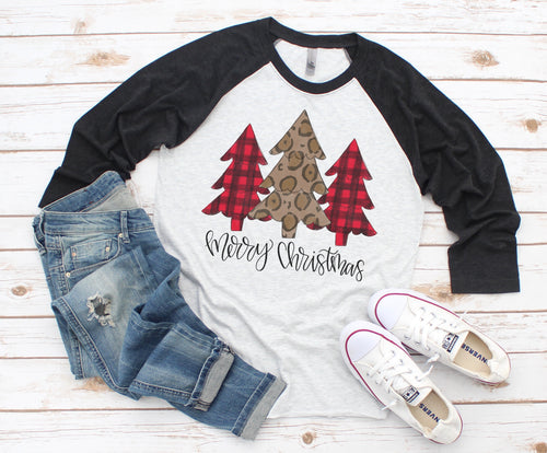 Leopard and Plaid Christmas Trees Raglan