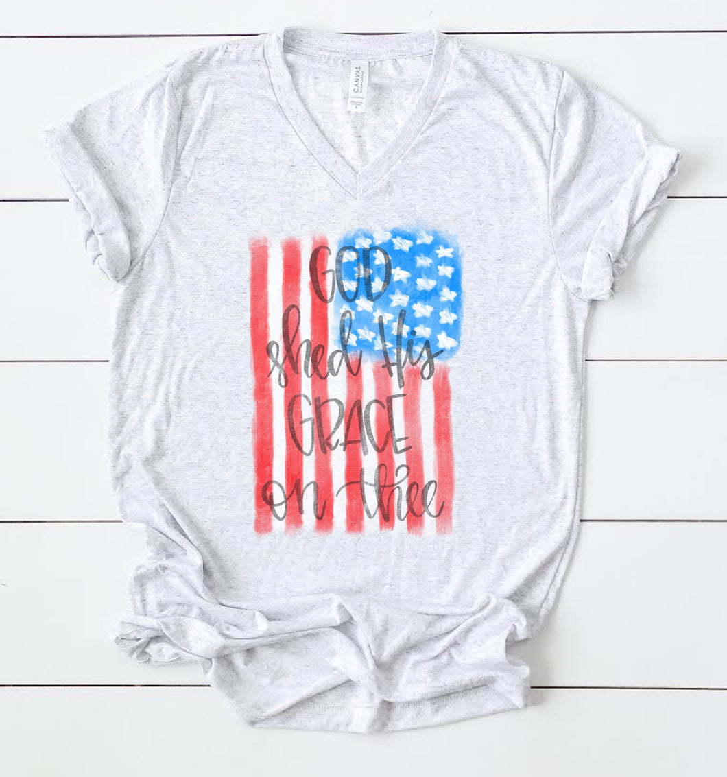 God Shed His Grace On Thee American Flag Tee