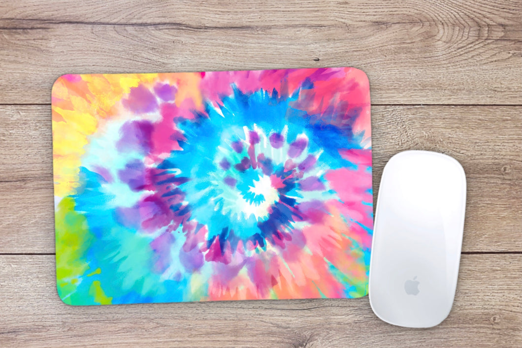 Multi-color swirl tie dye Mouse Pad
