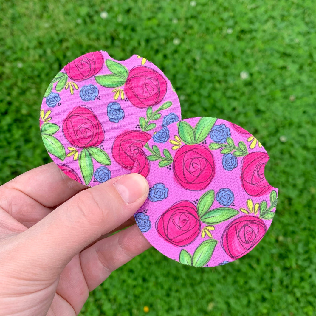 Purple Floral Car Coasters