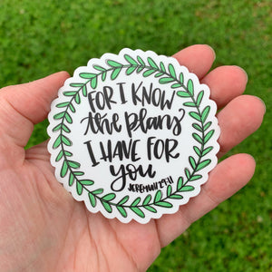 For I Know The Plans Laurel Wreath Sticker