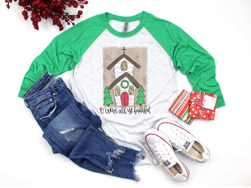 Oh Come All Ye Faithful Christmas Church Raglan