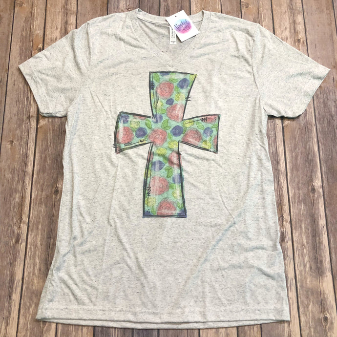 Floral Easter Cross Tee