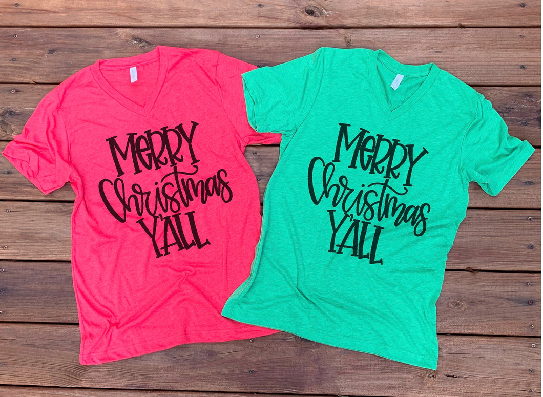 Merry Christmas Y'all - Red or Green Short Sleeve Tee