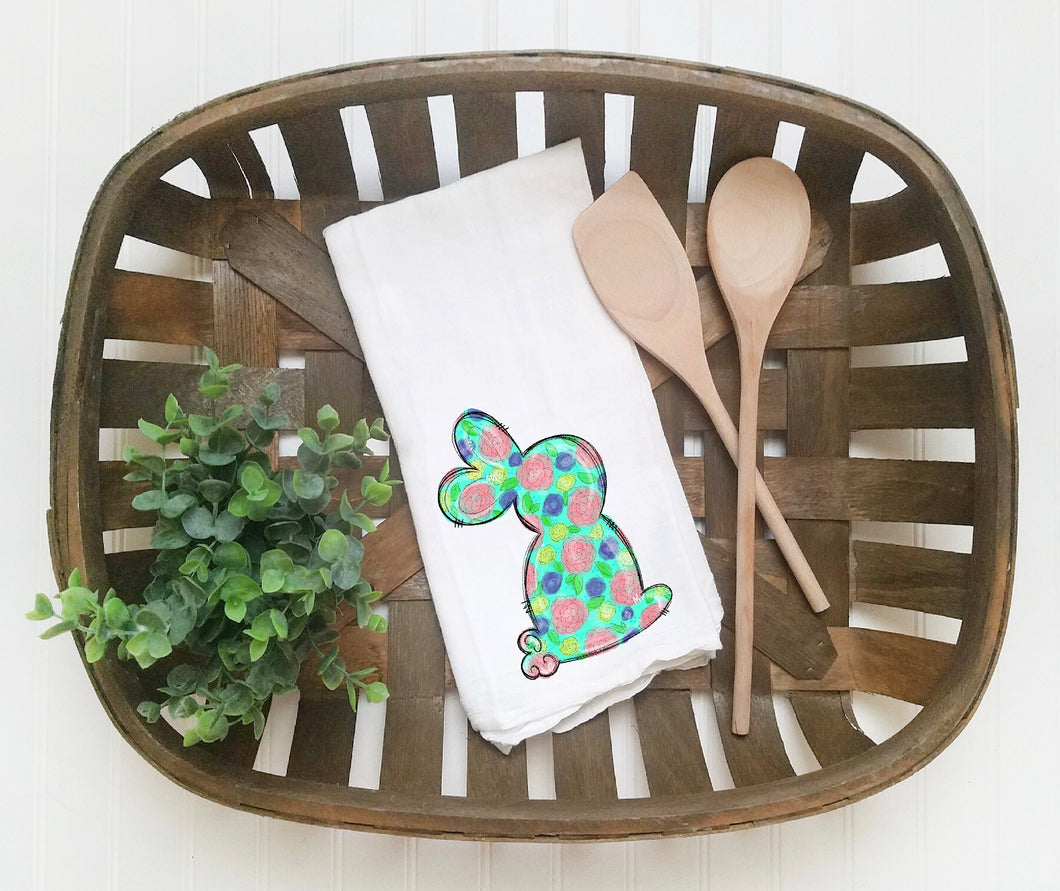 Floral Easter Bunny Tea Towel