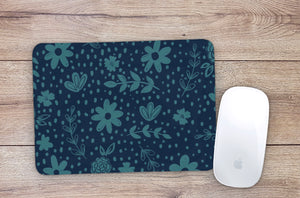 Navy Sketch Floral Mouse Pad