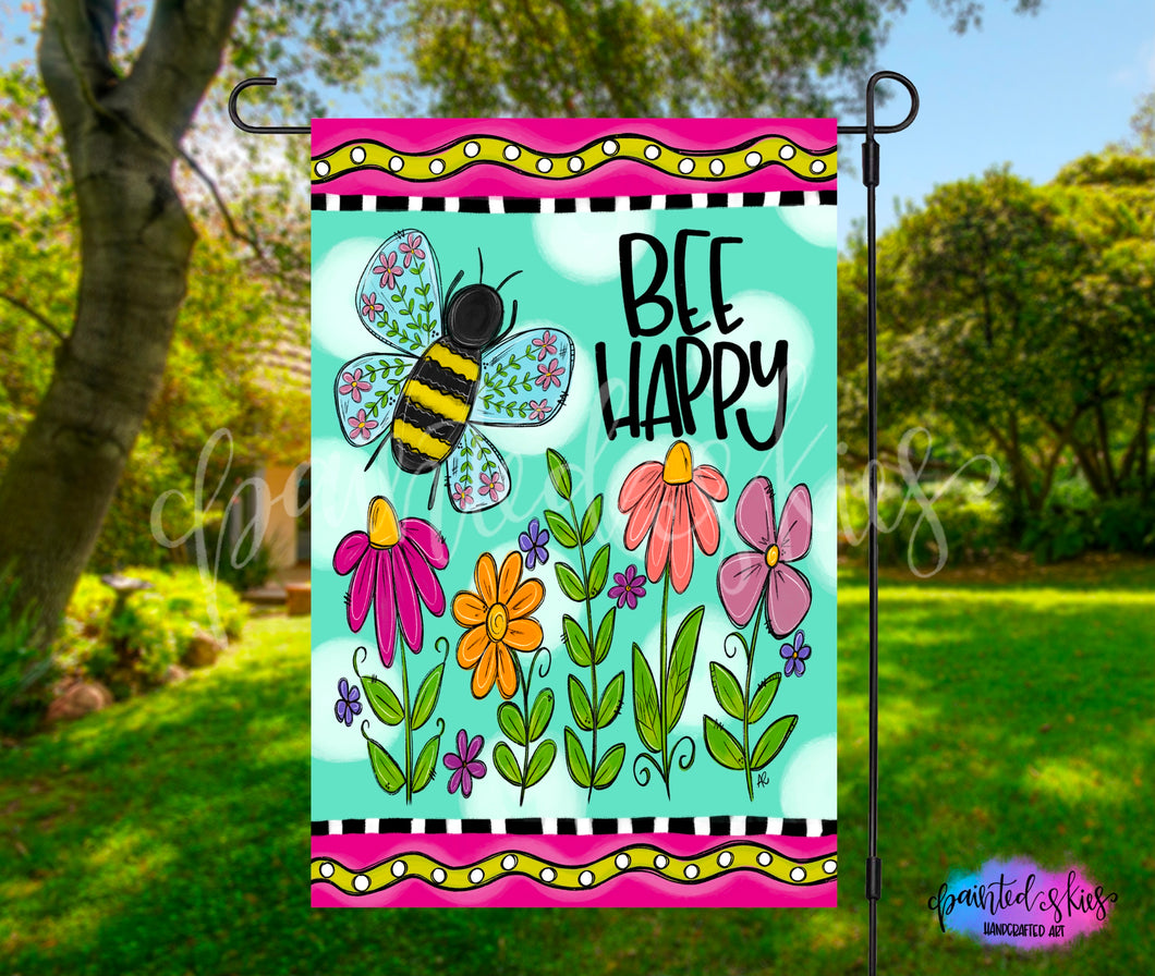 Bee Happy Garden Flag
