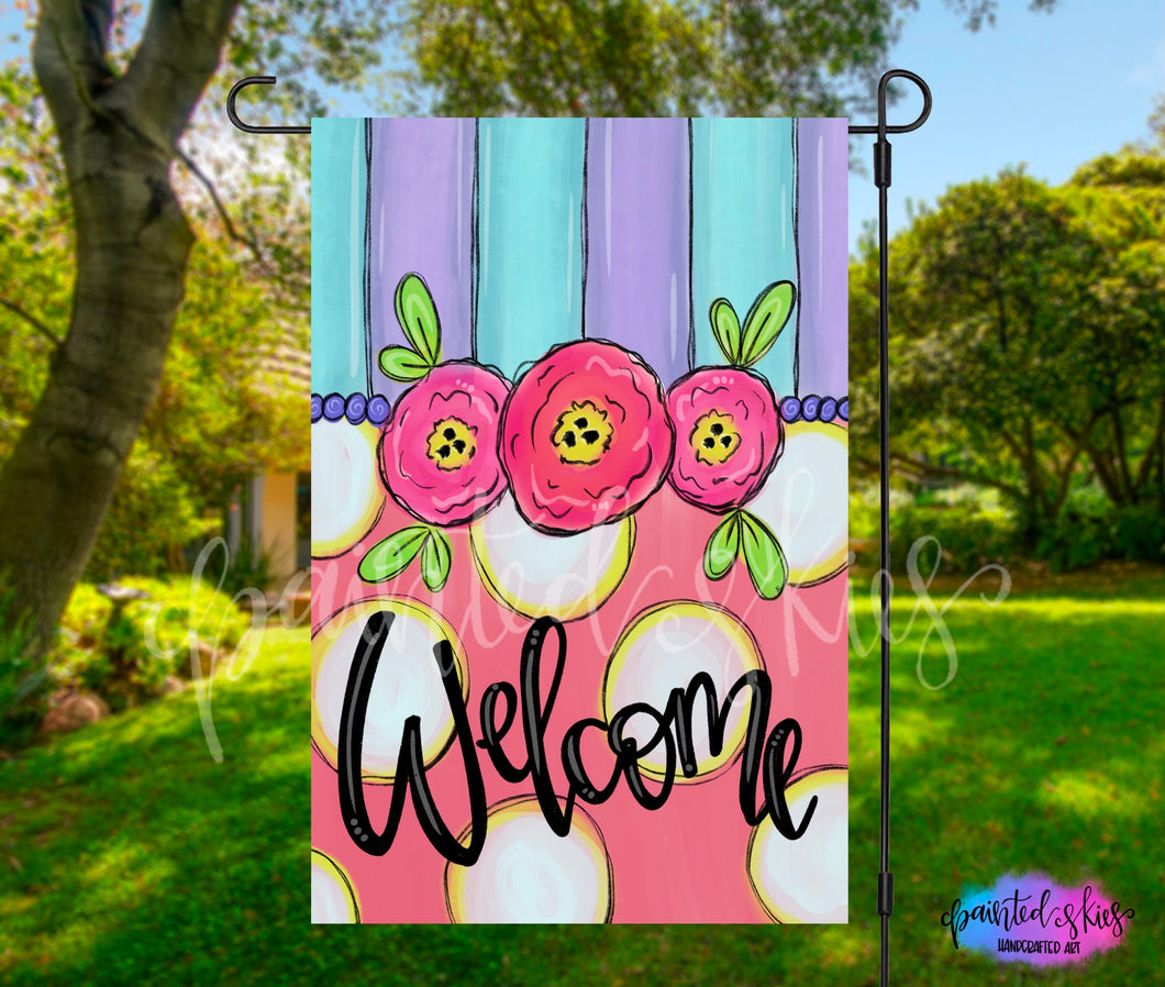 Pink Floral Welcome Garden Flag