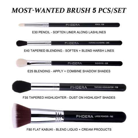 PHOERA MOST WANTED BRUSH 5 PCS/SET