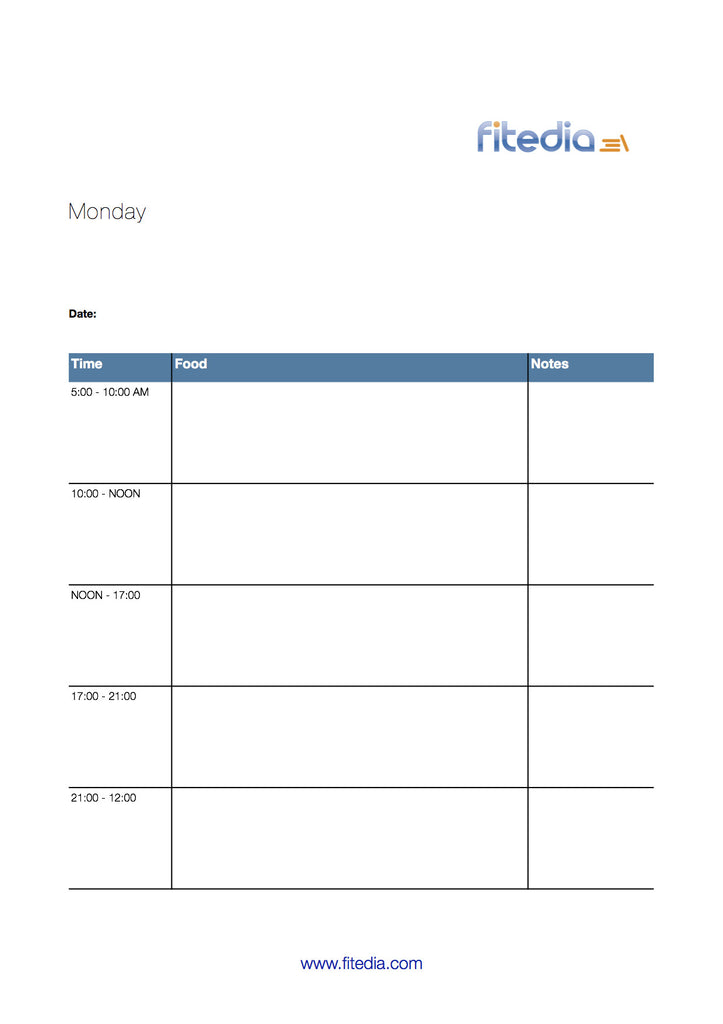 7 day food diary template