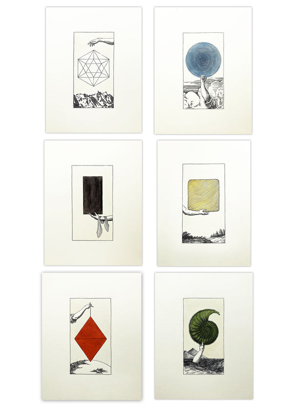 """Supra: Sacred Geometry"" Hand-painted, Letterpress Print Suite"