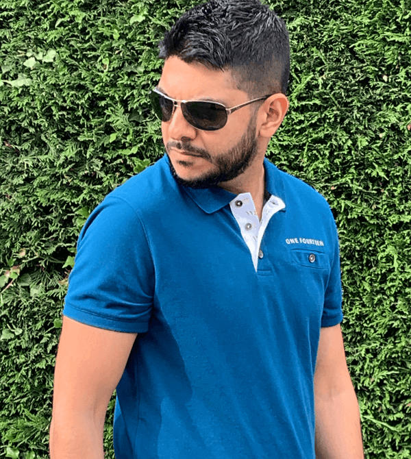 Istanbul blue men's soft touch polo