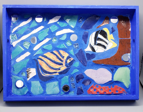 Blue Oceanic mosaic tray, handmade tiles with grout and mirror