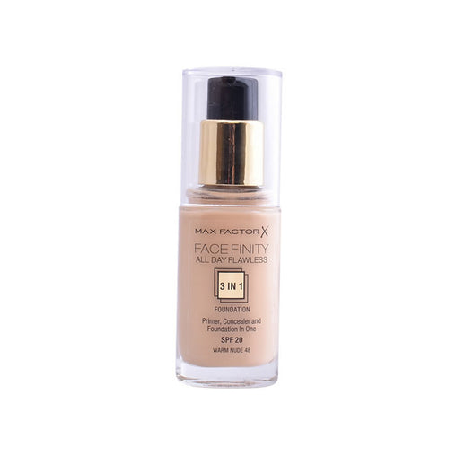 Max Factor Facefinity 3 In 1 Primer, Concealer And Foundation Spf20 48 Warm Nude 30ml