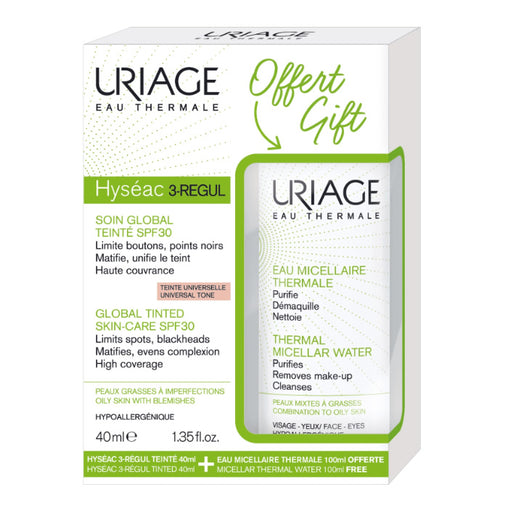 Uriage Hyséac 3-Regul Global Tinted Skin Care Spf30 Universal Tone 40ml Set 2 Pieces