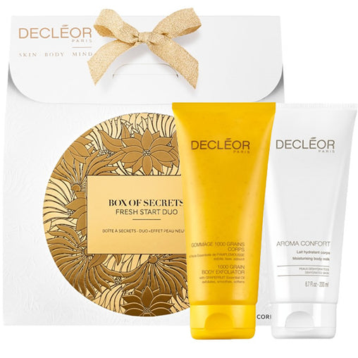 Decleor Box Of Secrets Duo Gift Set 200ml Aroma Confort Moisturising Body Milk + 200ml 1000 Grain Body Exfoliator
