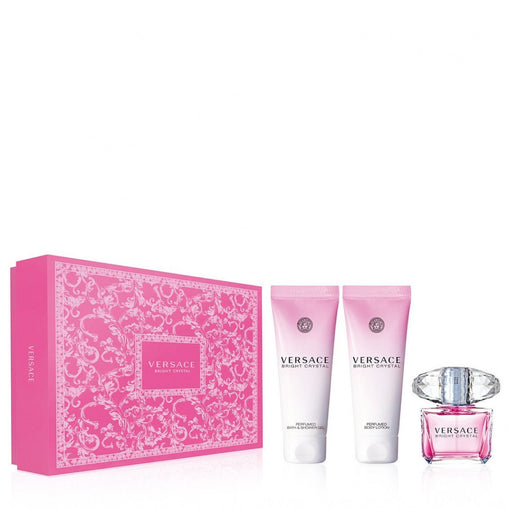 Versace Bright Crystal Gift Set 50ml EDT + 50ml Perfumed Body Lotion + 50ml Perfumed Bath & Shower Gel
