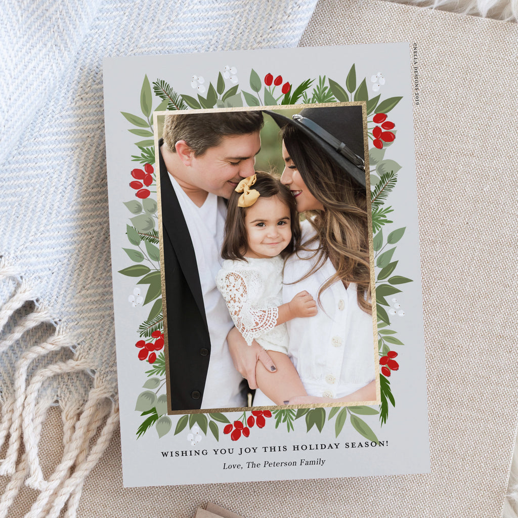 Christmas Greenery Holiday Photo Card