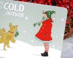 Baby It's Cold Outside Holiday Cards (little girl and golden retriever)