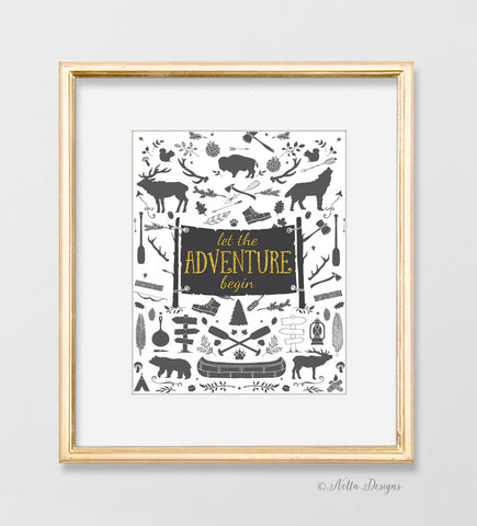 Woodland Nursery Print - Let the Adventure Begin